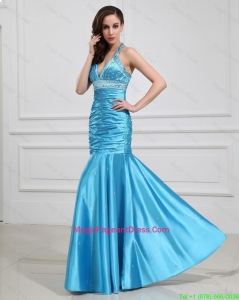 Sweet Mermaid Halter Top Pageant Dresses with Beading in Baby Blue