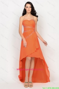 Beautiful High Low Orange Pageant Dresses with Beading for 2016