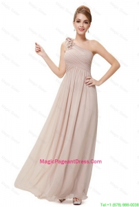Beautiful Ruched Champagne Pageant Dresses with One Shoulder