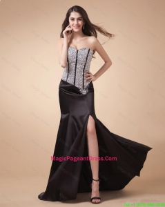 Fashionable Column Sweetheart Beaded Pageant Dresses with High Slit
