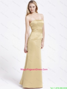Formal Column Strapless Pageant Dresses with Ruching