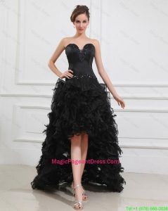 Gorgeous High Low Black Pageant Dresses with Beading and Ruffles