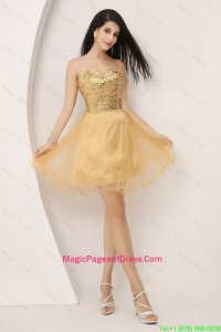 Luxurious A Line Gold Sweetheart Pageant Dresses with Lace Up
