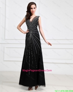 Popular Empire V Neck Beaded Backless Pageant Dresses in Black