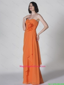 Popular Sweetheart Hand Made Flowers Pageant Dresses in Orange
