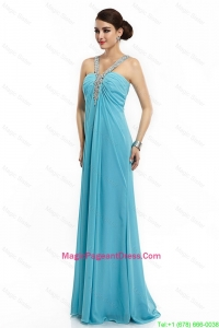 2016 Classical Brush Train Straps Beaded Pageant Dresses in Aqua Blue