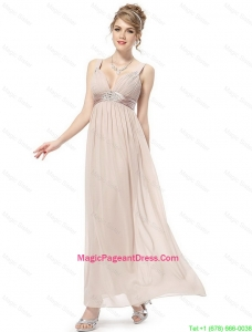 Cheap Straps Ankle Length Pageant Dresses in Champagne