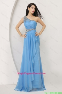 Discount Beaded Baby Blue Pageant Dresses with One Shoulder