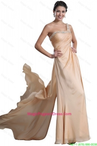 Fashionable Empire Beaded and Ruched Pageant Dresses in Champagne