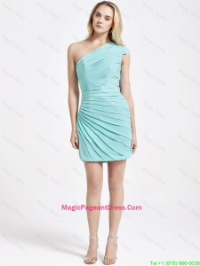 Romantic Short One Shoulder Ruching Pageant Dress in Turquoise