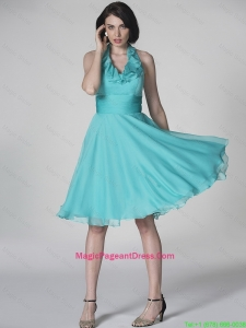 The Super Hot Halter Top Turquoise Pageant Dresses with Ruffles and Belt