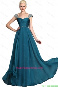 Gorgeous Beaded Teal Cap Sleeves Pageant Dresses with Straps