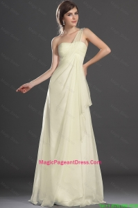 New Style Champagne Brush Train Pageant Dress with One Shoulder