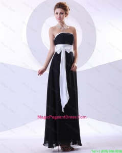 2016 Elegant Strapless Black Pageant Dresses with Belt and Bowknot