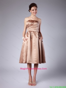 Beautiful Short Strapless Ruching Champagne Pageant Dresses for 2016