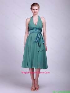 Discount Halter Top Short Turquoise Magicpageant Dresses with Ribbons