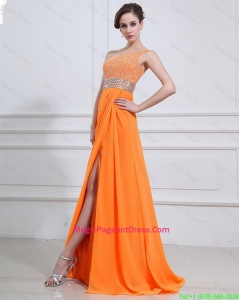 Exquisite Beading and High Slit Orange Pageant Dresses with Brush Train