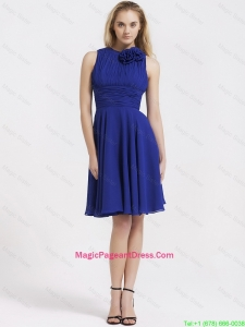 Fashionable Short Royal Blue Pageant Dresses with Hand Made Flowers
