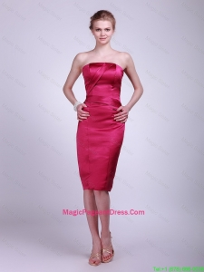 Fashionable Strapless Knee Lengt Pageant Gowns in Wine Red