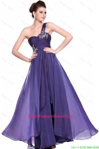 New Arrivals One Shoulder Purple Pageant Dresses with Beading