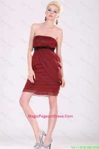 New Arrivals Strapless Belt Pageant Dresses with Mini Length