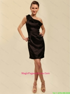 Pretty Short One Shoulder Black Pageant Dresses with Ruching