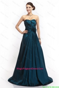 Pretty Sweetheart Hand Made Flowers Pageant Dresses in Navy Blue