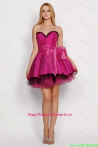 2016 Modest A Line Sweetheart Pageant Dresses with Sashes in Fuchsia