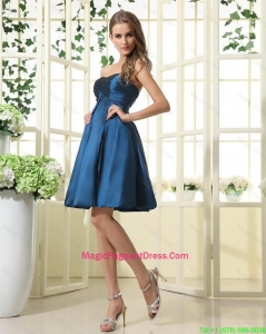 Beautiful A Line Sweetheart Ruched Pageant Dresses in Navy Blue