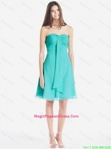 Classical Ruched Short Pageant Dresses in Turquoise