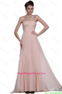 Discount Beaded Brush Train Pageant Gowns with One Shoulder