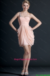 Gorgeous One Shoulder Beading and Pick Ups Short Pageant Dresses