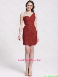 Gorgeous One Shoulder Ruching Short Pageant Dresses in Wine Red
