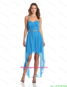 Hot Sale High Low Spaghetti Straps Pageant Dresses with Beading
