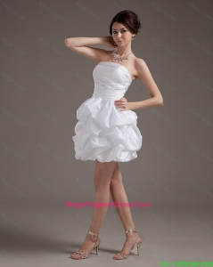 Latest Short Strapless White Pageant Dresses with Pick Ups