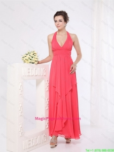 New Style Halter Top Ankle Length Pageant Dresses in Red