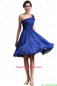 New Style One Shoulder Short Pageant Dresses in Royal Blue