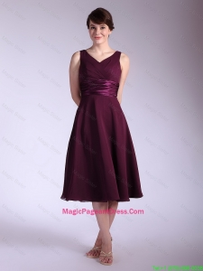 Perfect V Neck Tea Length Pageant Dresses with Ruching