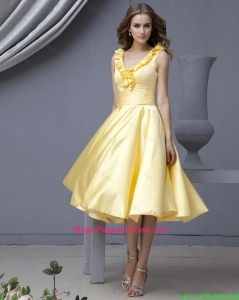Perfect V Neck Yellow Short Pageant Dresses with Ruffles for 2015 Autumn