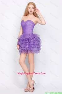 Pretty Sweetheart Lavender Short Pageant Dresses with Ruffled Layers