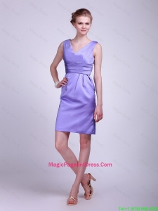 2016 Modern V Neck Short Lavender Pageant Dresses with Ruching