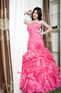 Affordable Beading and Ruffles Mermaid Pageant Dresses in Coral Red