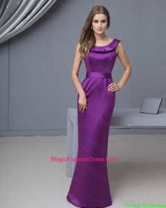 Beautiful Column Scoop Pageant Gowns with Floor Length