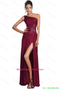 Beautiful High Slit Pageant Dresses with Beading and Ruching