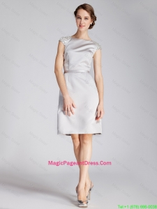 Cheap Silver Bateau Short Pageant Dresses with Beading and Belt