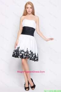 Cute Strapless Short Pageant Dresses with Belt and Appliques