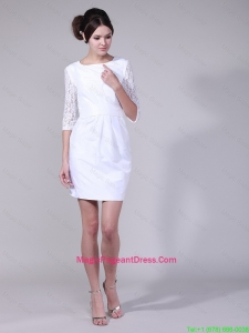 Fashionable Column Bateau Laced Half Sleeves Prom Dresses in White