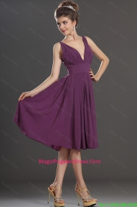 Perfect V Neck Short Pageant Dresses in Eggplant Purple