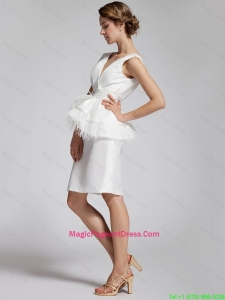 Popular White Column V Neck Prom Dresses with Feather