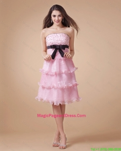 Pretty Strapless Beaded Short Pageant Gowns for Holiday